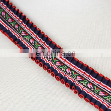 Wholesale fancy trim national webbing folded ribbon trim
