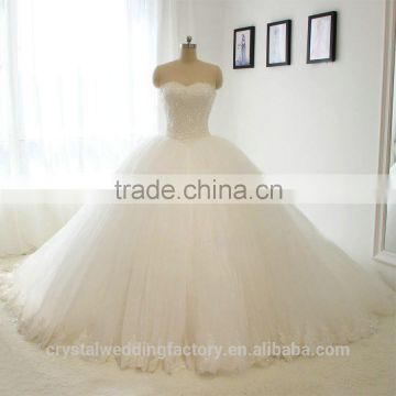 Elegant Alibaba White Sweetheart Ball Gown Heavy Beaded Lace wedding Dresses Bridal Gown vestidos de novia 2016 LWB02