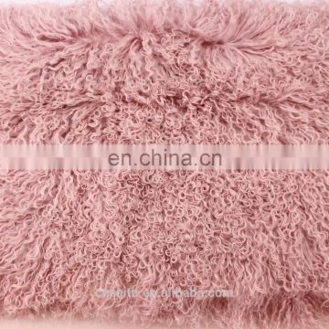 Dyed exotic orange colors wholesale price Mongolia/Tibet lamb skin fur plates