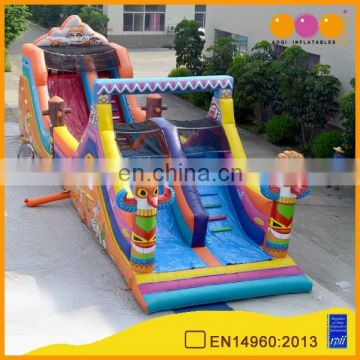 AOQI with free EN14960 certificate long inflatable slide obstacle for sale