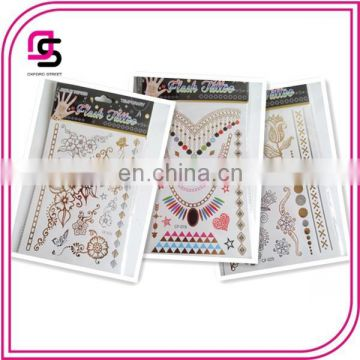 New arrival fashion design metallic gold tattoo