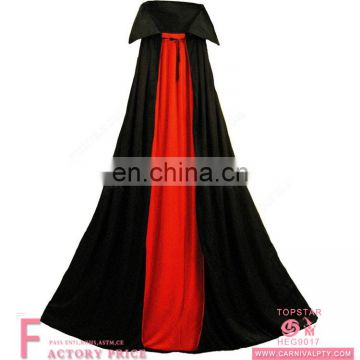 Halloween adult Dracula vampire cape black and red long cloak