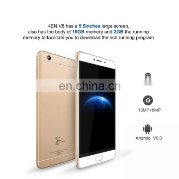 Unlock Original 4G Phone, KEN XIN DA V8,HK Stock,Fingerprint Id,3000mAh,RAM2GB ROM16GB,1280x720P Drop Shipping