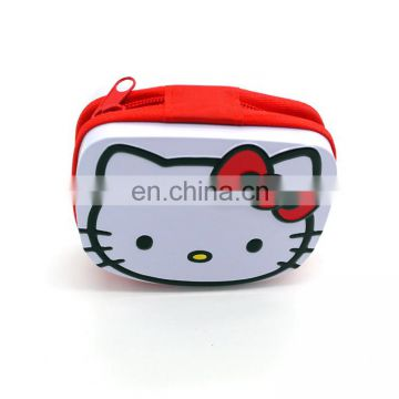 2016 Cute kitty metal tin wallet with zipper for coin wholesale