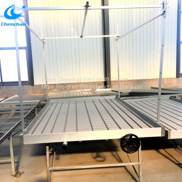 4*8ft metal rolling bench used in greenhouse for saving space