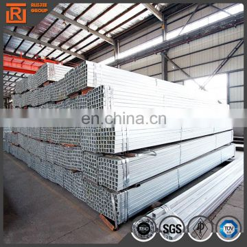 50x75 pre-galvanized rectangular pipe, galvanised steel rectangular tube thickness 2.4mm