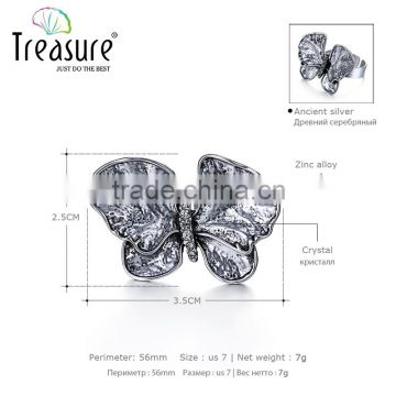 fashion jewelry Butterfly and white diamond new design ladies finger ring