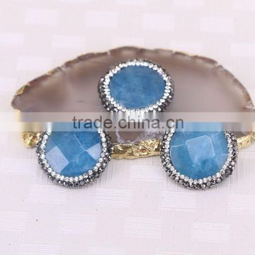 Paved Zircon Agate Druzy Stone Beads, Gem stone Charm Light Blue Round Faceted Agate Connector Beads For Jewelry Making