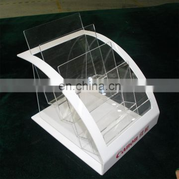 White and clear plexiglass brochure holder document display plexiglass brochure display rack