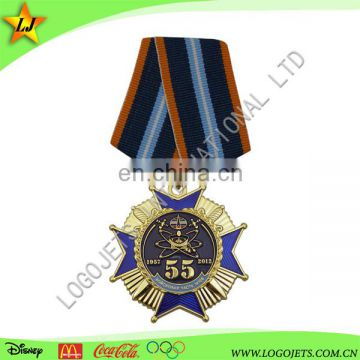 Custom art and craft blank running gold medal with ribbons