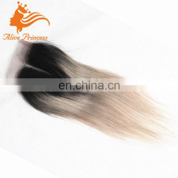 Grey Hair Top Closure Virgin Brazilian Hair Ombre Two Tone Color 1BTGrey Silky Straight 100% Human Hair Nape Closure For Women