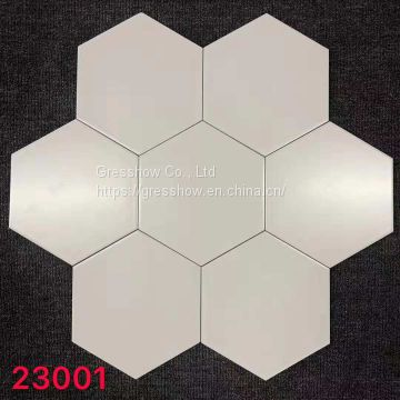 200x230mm Glazed Ceramic White Hex Tile