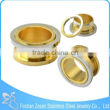 Competitive price medical steel gold ear tunnels body jewelry piercing wholesale
