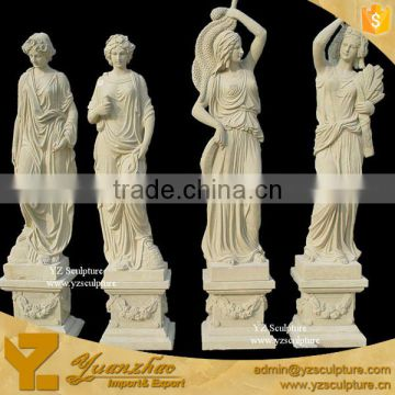 Yellow Sand Stone Four Seasons Goddess sculptre for garden decoration