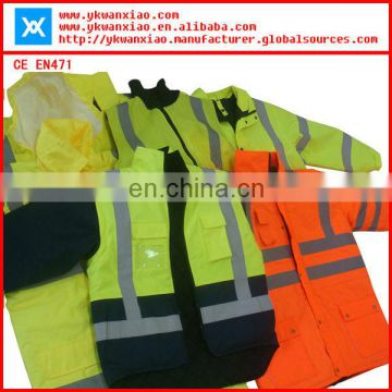 class3 reflective safety raincoat with sealing and waterproof