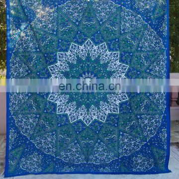 star Mandala Tapestry Elephant Wall Hanging Indian Hippie Dorm Tapestries Bedspread Ethnic Decor Art Blue
