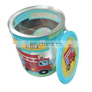 round PVC tin with metal handle
