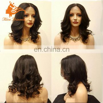 Unprocessed Human Hair Full Lace Wig Shor Body Wave Human Hair Wig Middle Part Wavy Full Lace Wig Can Be Dyed For Black Women