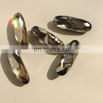 machine cut fancy stone point back Silver Shadow crystal loose beads