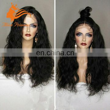 Natural Curly Human Hair Full Lace Wig Middle Parting Virgin Malaysian Loose Curly Silk Top Virgin Hair Full Lace Wig For Women