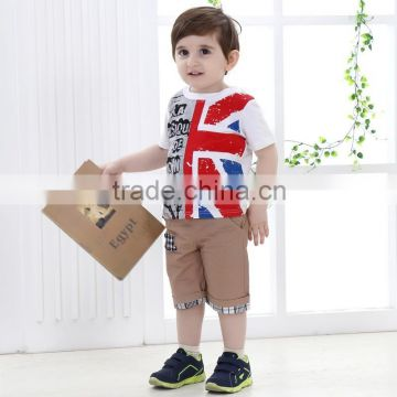 2015 Children Clothing Kids Cute Short Sleeve T-Shirt Boy Summer Set