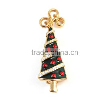 Gold plated with red and sliver sparkling glitter enamel Christmas tree decoration brooch fashion jewelry