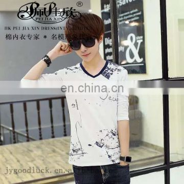 Peijiaxin Casual Style V-neck Artistic Scrawl Printed Men Casual Shirt Fabric