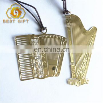 Creative Exquisite Gold Plated Lanyard Instrument Metal Bookmark