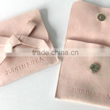 Custom logo jewelry/gift velvet suede flap pouch with button,envelope faux suede Clutch bag                                                                         Quality Choice