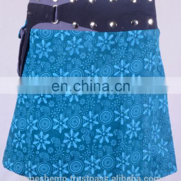 Lovely Glacial Blue Ice Shade Exotic Print Gypsy Wrap Around Skirt With Belt HHCS 111 I