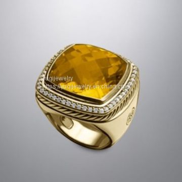 Gold Plated Jewelry 20mm Citrine Albion Ring(R-220)