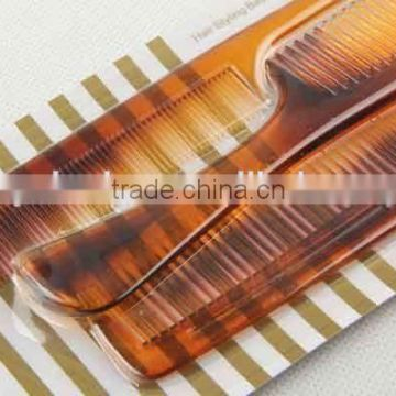 3PC amber transparent plastic hair brush/comb
