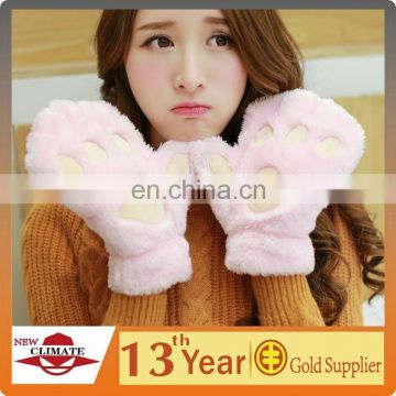 Fashion new design pretty soft useful animal polar fleece gloves the factory