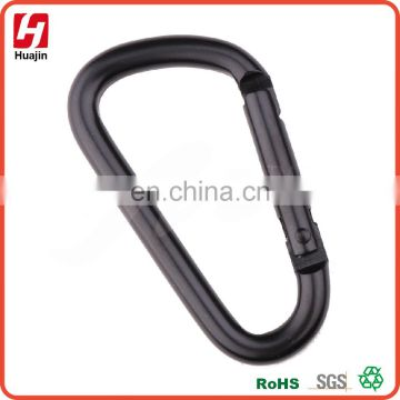 Aluminum Solid Black D Shape Carabiner,keychain IN STOCK