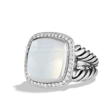 High Quality Sterling Silver DY Women  14mm Albion Ring with Moon Quartz