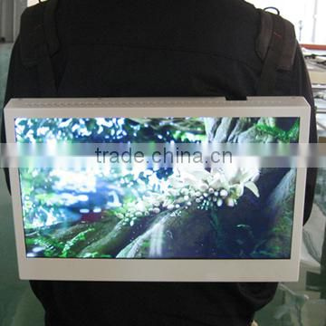 "18.5"" backpack lcd advertising player looping video using high brightness screen usb flahs driving led advertising video display"