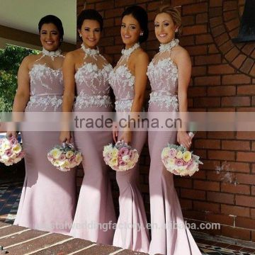 Wholesale Good Quality New Cheap Lace And Beaded formal Long Sheath Mermaid Bridesmaid Dress With Halter LB18