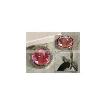 Murano art deco collection round pink crystal handbag holder