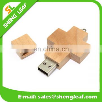 cross customized wooden usb flash drives for sale