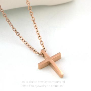 Stainless Steel Cross Pendant Religious Jewelry Necklace Pendant Rose Gold Necklace