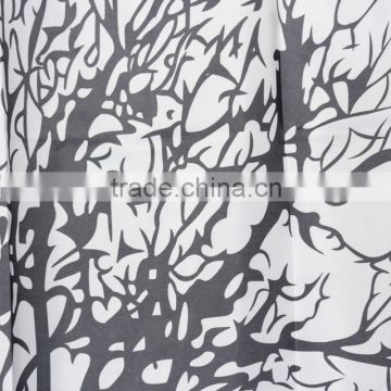 Wholesale Price 180x180cm Waterproof Black Scenery Tree Design White Fabric Bathroom Shower Curtain Liner Hooks Polyester