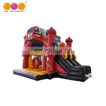AOQI inflatable bouncer castle manufacturer fire station bouncer for kid