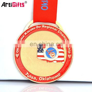 Cheap 3d fencing sport metal medal with ribbon