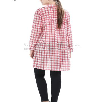 Long Sleeve Button Down Long Casual Plaid Long Shirt