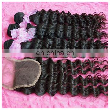 "Super 4""*4"" Filipino raw indian deep wave deep curl remy human hair weave with middle part lace closure"