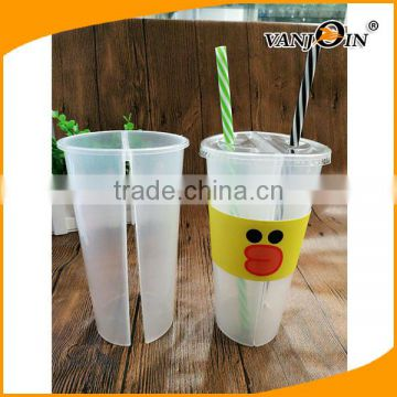 477f5ea799a 700ml PP Split Boba Tea Cups / Double Enjoy Cups for Hot/Cold Drinks