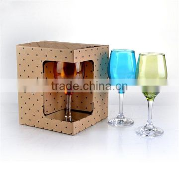 color red wine glasses cup with clear steam with gift box