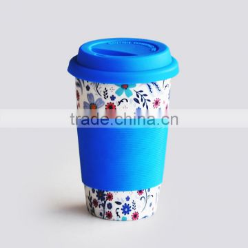 10oz ceramic V-shape coffee mug, with silicon lid, with double wall