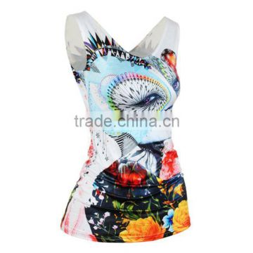 wholesale custom cheapest polyester microfiber sublimation printing tank top