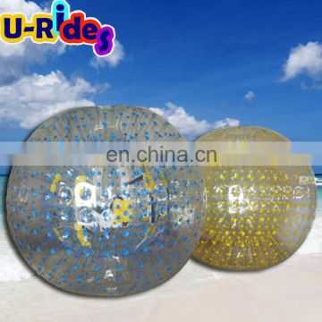 TPU blue colour and yellow colour rolling inflatabla zorb ball water ball for fun
